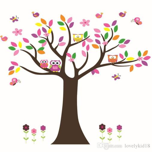 cute-owl-colorful-tree-wall-sticker-d-corations